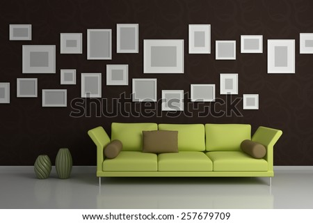 Modern interior composition with lamp, sofa and pictures on a wall. - stock photo