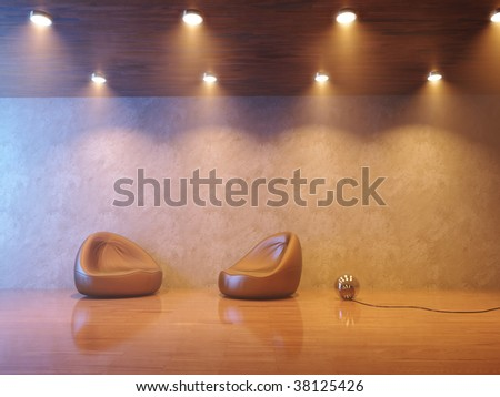Modern interior composition with smoke and warm lighting - stock photo