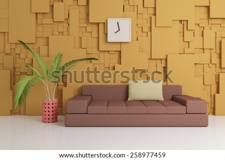 Modern interior composition with sofa and decorations on a wall. - stock photo