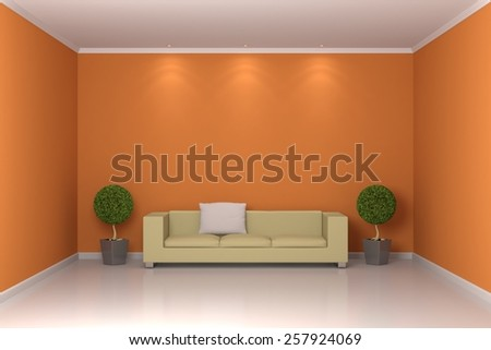 Modern interior composition with sofa and two plants. - stock photo