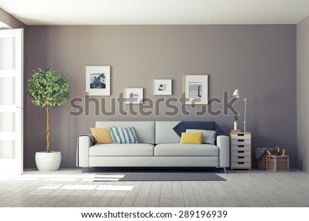 modern interior.3d design concept - stock photo