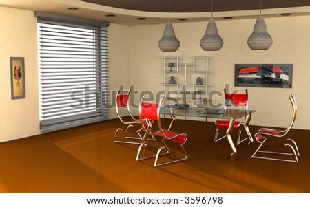 modern interior 3d render - stock photo