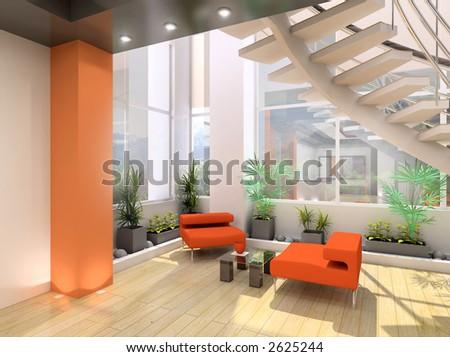 Modern interior. 3D render. Living-room. - stock photo