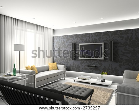 Modern interior. 3D render. Living-room. Exclusive design. - stock photo