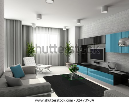 Modern interior. 3D render. Living-room. Exclusive design. - stock photo