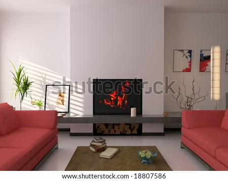 modern interior ( 3d rendering ) - stock photo