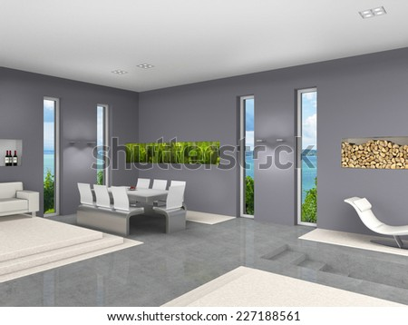 modern interior 3D rendering with open living and dining room  - stock photo