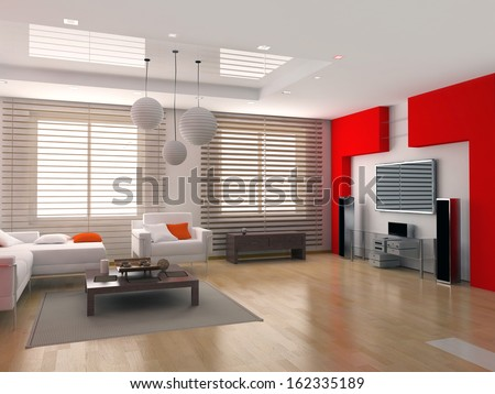 modern interior design ( apartment 3d rendering)  - stock photo