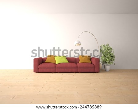 modern interior design-3D rendering - stock photo