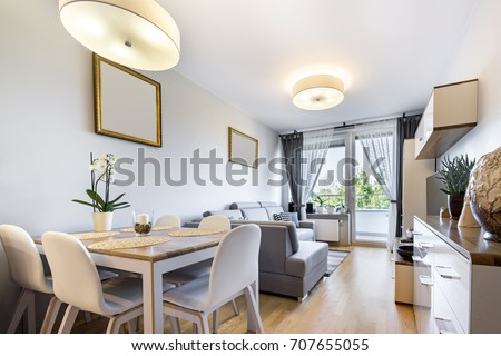 Modern Living Room Kitchen Small Apartment Stock Photo 679804813 ...