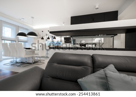 Modern interior design living room with fireplace in black and white - stock photo