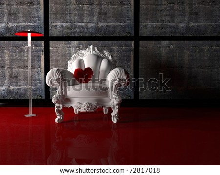 Modern interior design, nice composition with floor lamp, white classic armchair and red pillow in shape of  heart, 3d render - stock photo