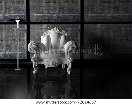 Modern interior design, nice dark composition with floor lamp and white classic armchair, 3d render - stock photo