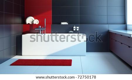 Modern interior design of a bathroom, 3d render - stock photo