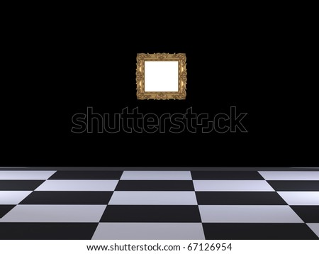 Modern interior design of hall, classic gold frame in front of black wall, rendering