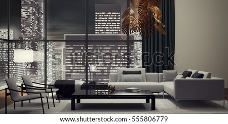 interior design living room pictures. Modern interior design of living room 3D illustration  rendering Interior Design Living Room 3d Stock Illustration 427382566