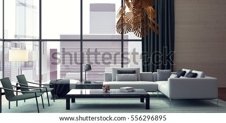 Modern Interior Design Of Living Room 3D Rendering, 3D Illustration Part 76