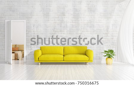 Modern Interior Design Of Livingroom In Vogue With Plant, Yellow Divan,  Copyspace. Horizontal