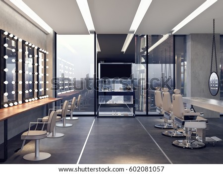 Modern interior design salon 3d rendering stock for Photo salon design moderne