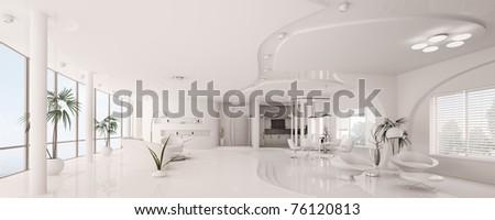 Modern interior design of white apartment panorama 3d render - stock photo