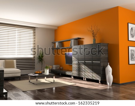 modern interior design (private apartment 3d rendering)  - stock photo