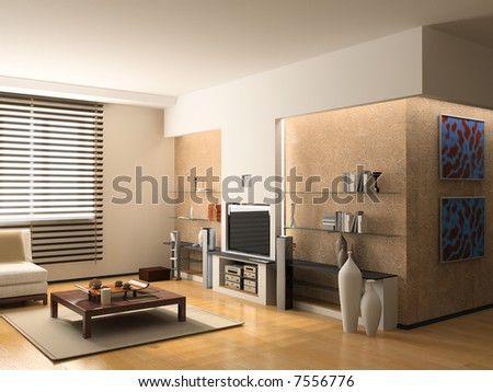 Modern Interior Design Apartment 3d Rendering Stock Illustration ...