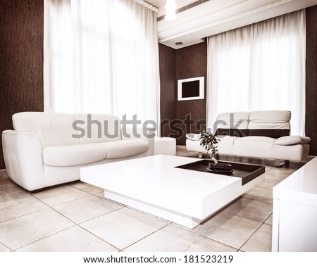 Modern interior design, white&brown colors in flat interiors, luxury sofa and table with little plant on it, comfortable apartment - stock photo