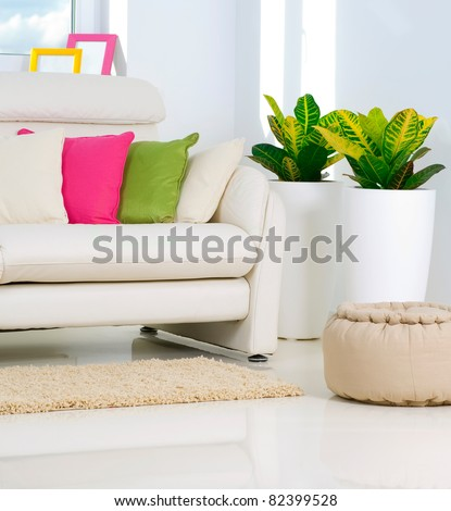 Modern Interior design.White Living Room - stock photo
