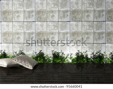 Modern interior design with a plants, pillows and  concrete wall, 3d render.