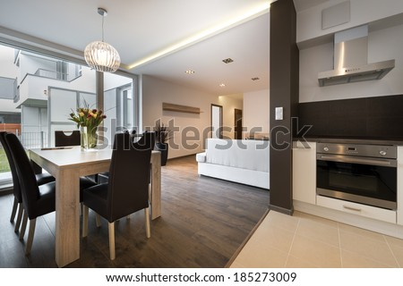 Modern interior design with kitchen and living room
