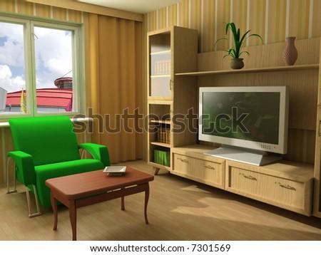 modern interior design with sofas - stock photo