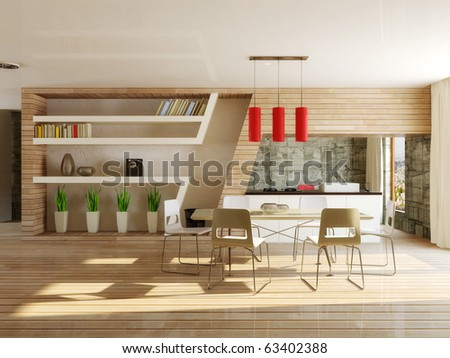 modern interior dining room with wooden  construction - stock photo