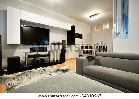 Modern interior, functional minimalism - stock photo
