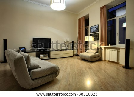 Modern interior, functional minimalism - stock photo