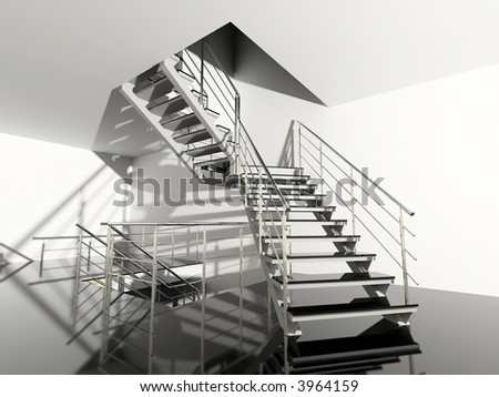 modern interior hall with stair