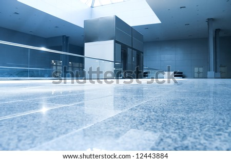 Modern interior in business center. Blue tint. - stock photo