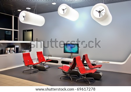 modern interior in waiting hall - stock photo