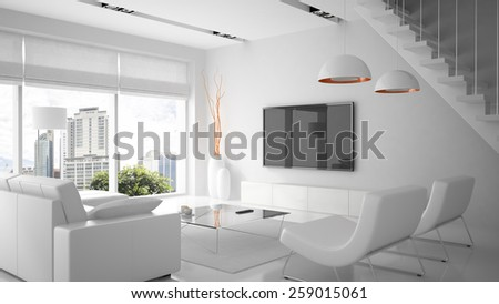 Modern interior in white color 3D rendering - stock photo