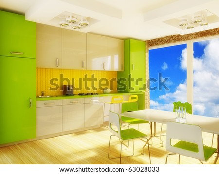 modern interior kitchen with green furniture - stock photo