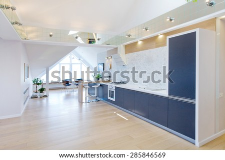 modern interior light a large apartment in mansard - stock photo