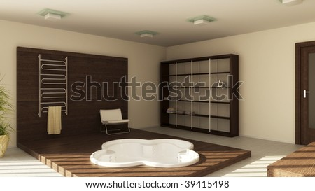 Modern interior of a bathroom (3d rendering) - stock photo