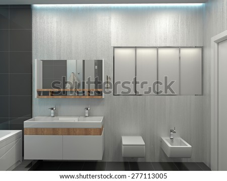Modern interior of a bedroom room  - stock photo