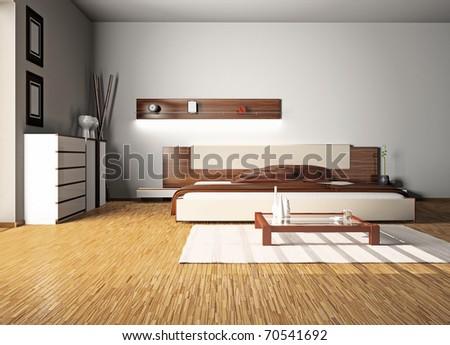 Modern Interior Bedroom Room 3 D Stock Illustration 70541692 ...
