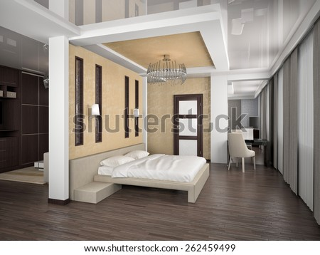 Modern interior of a bedroom room 3D rendering
