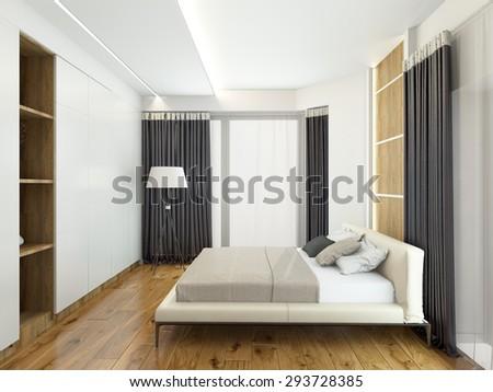Modern interior of a bedroom room 3D rendering - stock photo