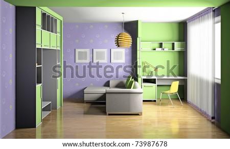 Modern interior of a children's room 3D - stock photo