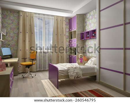 Modern interior of a children's room 3D rendering - stock photo
