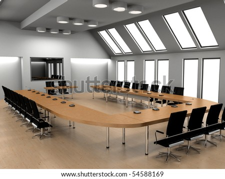 Modern interior of a conference of a hall 3D - stock photo