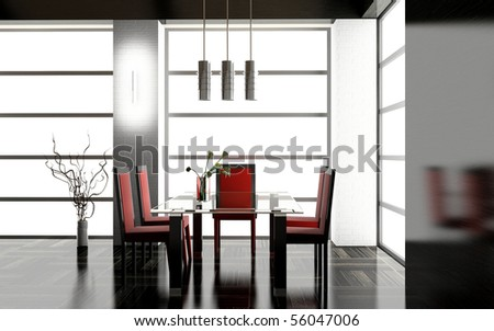 Modern interior of a dining room 3D - stock photo
