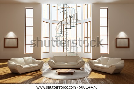 Modern interior of a drawing room - stock photo